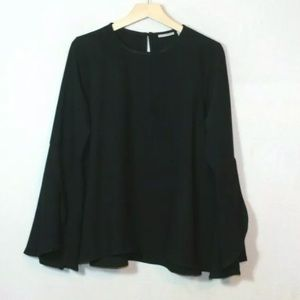 Halogen black textured bell sleeve relaxed blouse